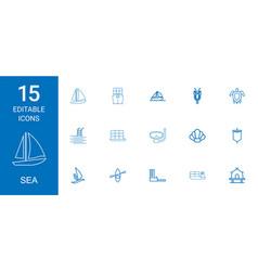 15 sea icons vector
