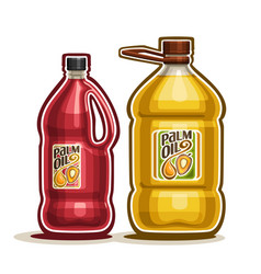 2 big red and yellow bottles with palm oil vector