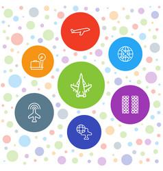 7 plane icons vector image