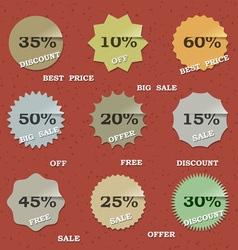 9 Vintage sale labels vector image