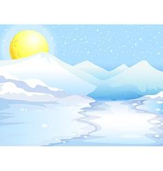 A moon and snow mountains vector