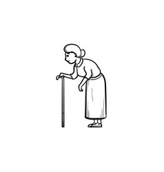 An old woman with cane hand drawn outline doodle vector