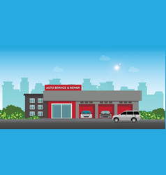 auto car service and repair center or garage with vector image