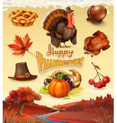 Autumn happy thanksgiving cartoon character vector