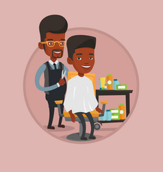 Barber making haircut to young man vector