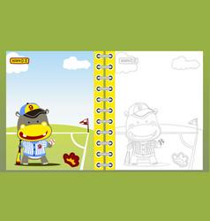 baseball player cartoon coloring book page vector image