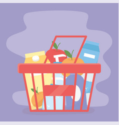 Basket shopping with products food excess purchase vector