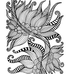 black and white bohemian ornamental floral pattern vector image