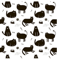 Black and white seamless pattern with cute cats vector