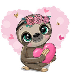 cartoon sloth with a heart on an heart backgrouns vector image