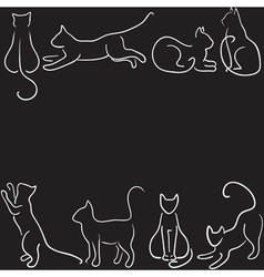 cat silhouette border vector image