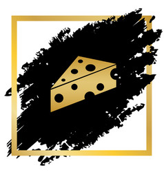 Cheese maasdam sign golden icon at black vector