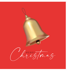 christmas gold bell 3d realistic design holiday vector image