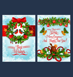 christmas holiday wreath with xmas bell banner vector image