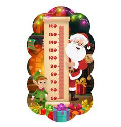 Christmas kids height chart santa elf and gifts vector