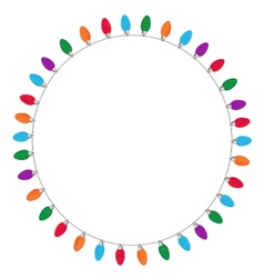 Circle of Christmas and New Year light on white vector image