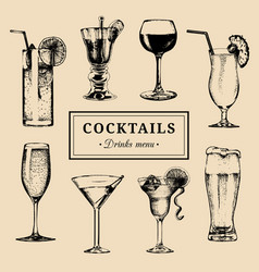 Cocktails menu hand sketched alcoholic beverages vector