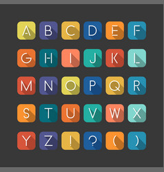 colorfol english flat alphabet latin minimalistic vector image