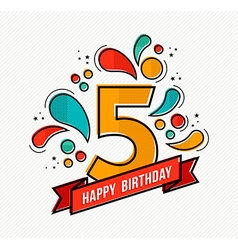 colorful happy birthday number 5 flat line design vector image