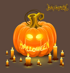 cover halloween pumpkin with a face vector image