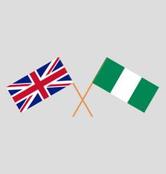Crossed flags nigeria and uk vector