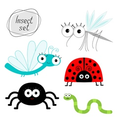 Cute cartoon insect set Ladybug dragonfly mosquito vector