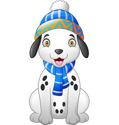 dalmatian cartoon dog wearing a winter hat and sca vector image