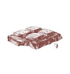 dark chocolate bar piece hand drawn vector image