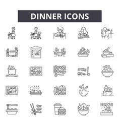 Dinner line icons signs set outline vector