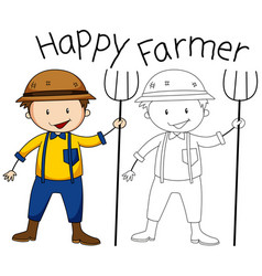doodle graphic of farmer vector image