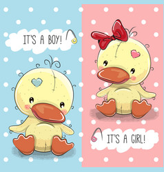 Ducks boy and girl vector