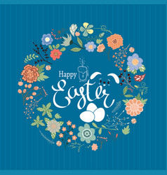 easter composition with eggs and handdrawn flowers vector image