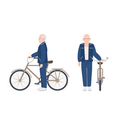 elderly man or grandfather dressed in sport vector image