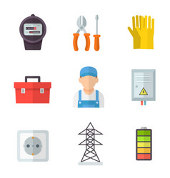 electrician icon flat cartoon set vector image