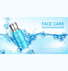 Face care cosmetics bottle in water with ice cubes vector
