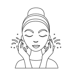 Face washing icon in outline style isolated on vector