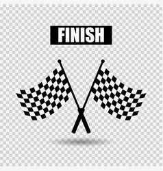 flags finish with shadow on gray checkered vector image