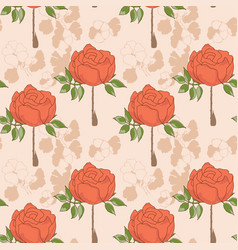 floral seamless pattern retro style roses vector image
