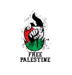 Free palestine hand grunge design vector