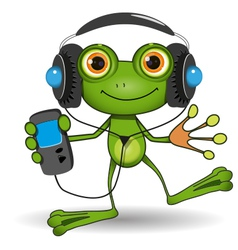 Frog in Headphones vector image vector image