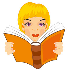 Girl reads book vector