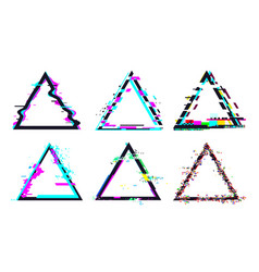 glitch triangle frame destroyed geometric shape vector image