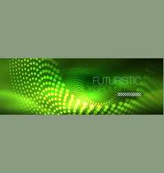 green neon dotted circles background vector image