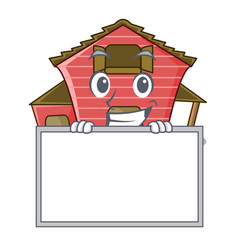 Grinning with board character red barn building vector
