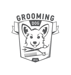 Grooming logo set scottish terrier icon vector