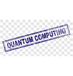 Grunge quantum computing rectangle stamp vector