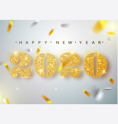 happy new year banner with gold 2020 numbers on vector image