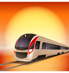 High-speed train with big sun over background vector image