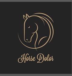 horse logo silhouette horse on black vector image