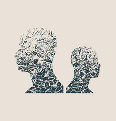 Human avatar silhouettes grunge style vector
